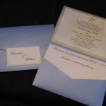 Blue pocket fold  starfish invitation