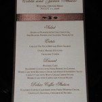 Estela Menu with brown paper ribbon and 3 rhinestones