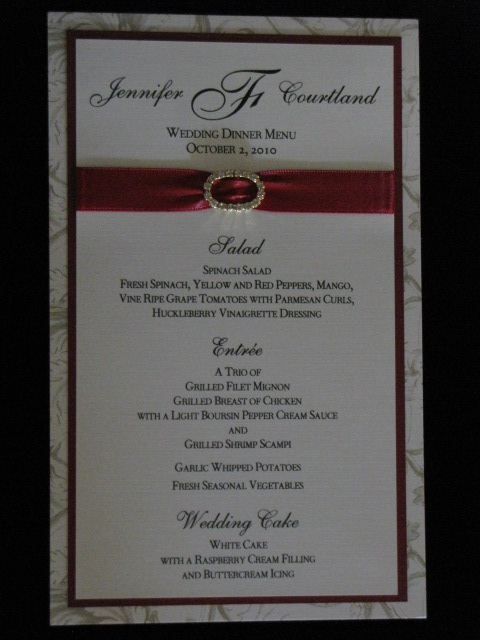 Fleming Wedding Menu