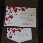Inside of brown with  cherry blossom invitation