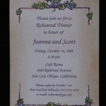 Joanie and Scott rehearsal dinner invite grapes