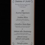Joanie and scott rehearsal dinner menu