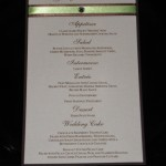 Menu with date and brown and green ribbon with rhinestone