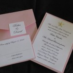 Pink and White tasha and david pocketfold invite