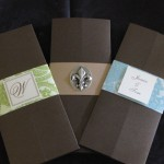 Trifold inviations fleur de lis, green band and blue band